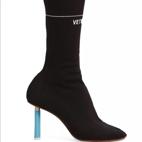 Vetements Womens Black Sock Boots